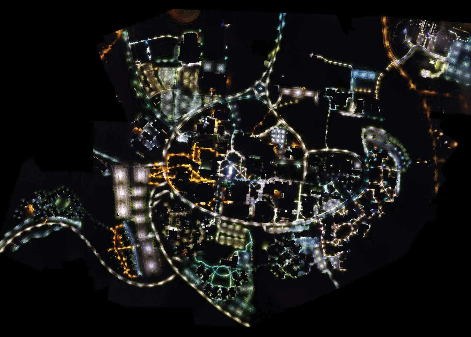 For research on campus safety, Chengbin Deng, associate professor of geography, used a drone to take thousands of aerial images of campus at night, then put them together in a mosaic.