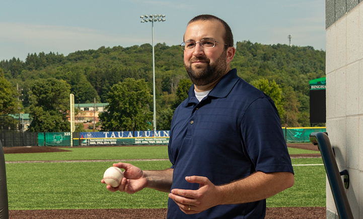 Rory Eckardt at the Binghamton University Varsity Baseball Field