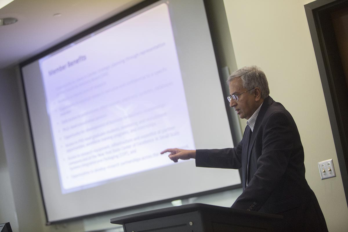 Over his 30-plus years at Binghamton University, Distinguished Professor Kanad Ghose balances his roles as teacher, researcher, inventor and administrator.