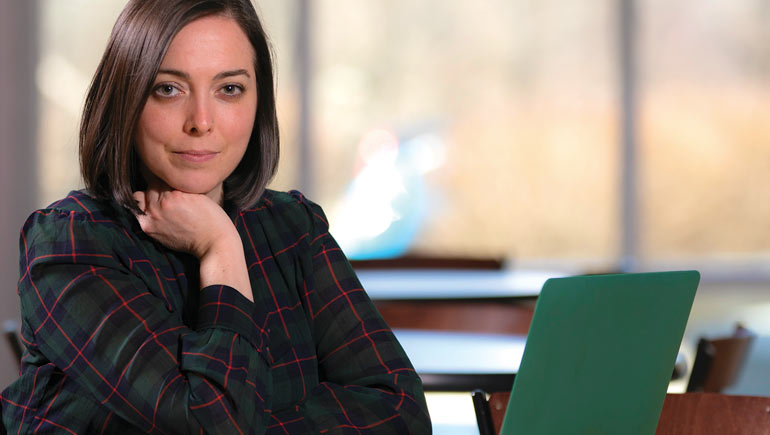 Jacqueline McGinley, assistant professor of social work, focuses her research on individuals with developmental disabilities.