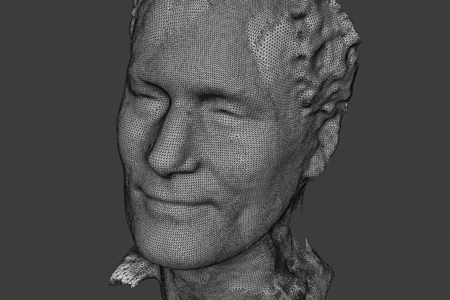 An example of one of thousands of facial expressions represented in computer scientist Lijun Yin's 3D facial modeling database.