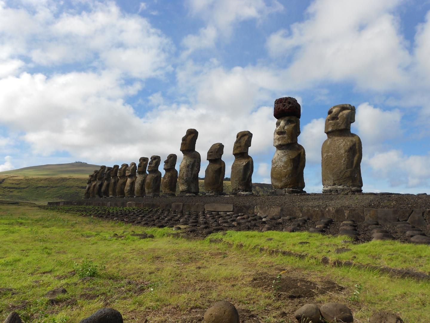 This is a restoredstatueplatform with standing moai on the south coastofRapa Nui.