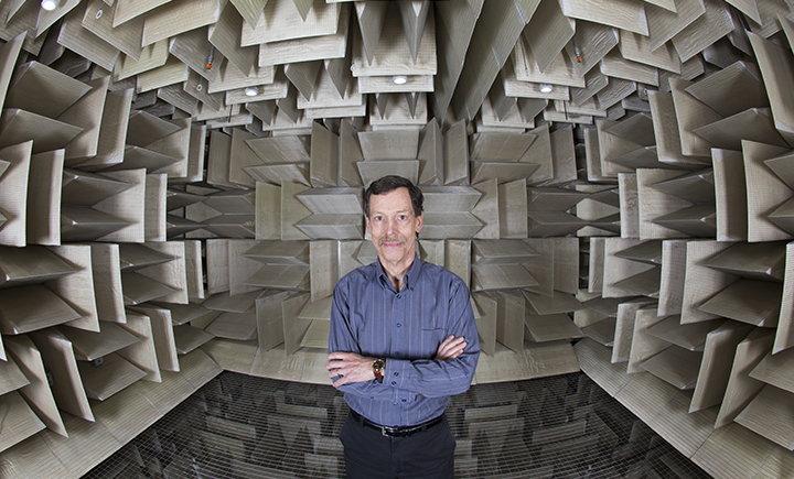 Distinguished Professor Ron Miles in the anechoic chamber,  a room designed to absorb sound, where he does acoustic research.
