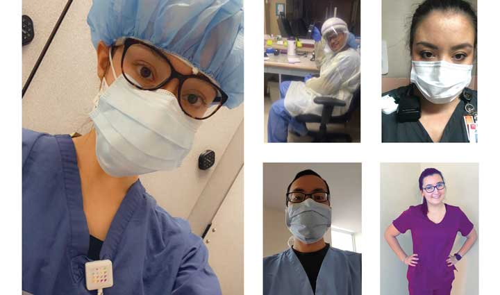 Undergraduate and graduate nursing students from Decker College of Nursing and Health Sciences are caring for hospitalized patients, many of them infected with COVID-19. From top left to bottom right are Erin Brembs, Sagarkumar Patel, Joy Saarie, Tak Yan and Allison Roma.