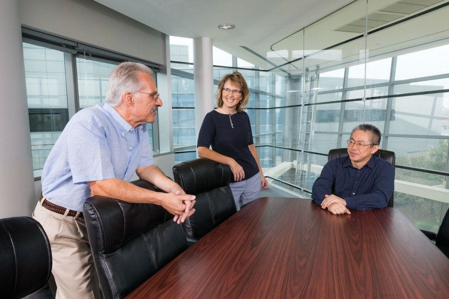 Professors Francis Yammarino, Shelley Dionne and Hiroki Sayama, left to right, are working on a grant supporting their study of leadership models in the U.S. Army. They will analyze the results of video game simulations in a collaboration with the University of Oklahoma.