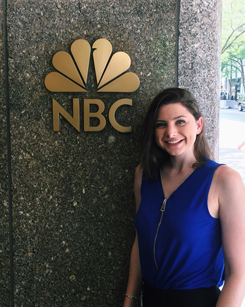 Sarin Grey '18 at 30 Rockefeller Plaza in NYC for her internship with NBCUniversal