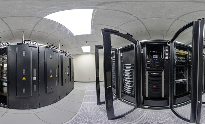 A panoramic look inside the data center for the Thomas J. Watson School of Engineering and Applied Science.