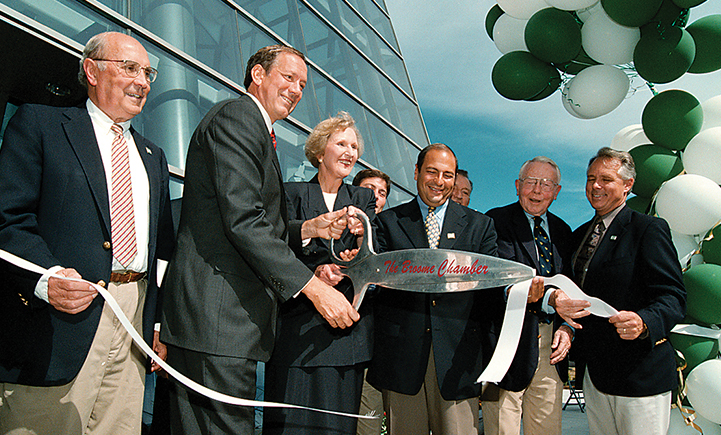 Ribbon cutting ceremony for Academic A in 1998