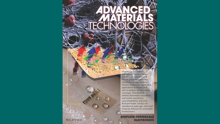 Research from a Watson College study about a new material for biosensors made the cover of the journal Advanced Materials Technology.