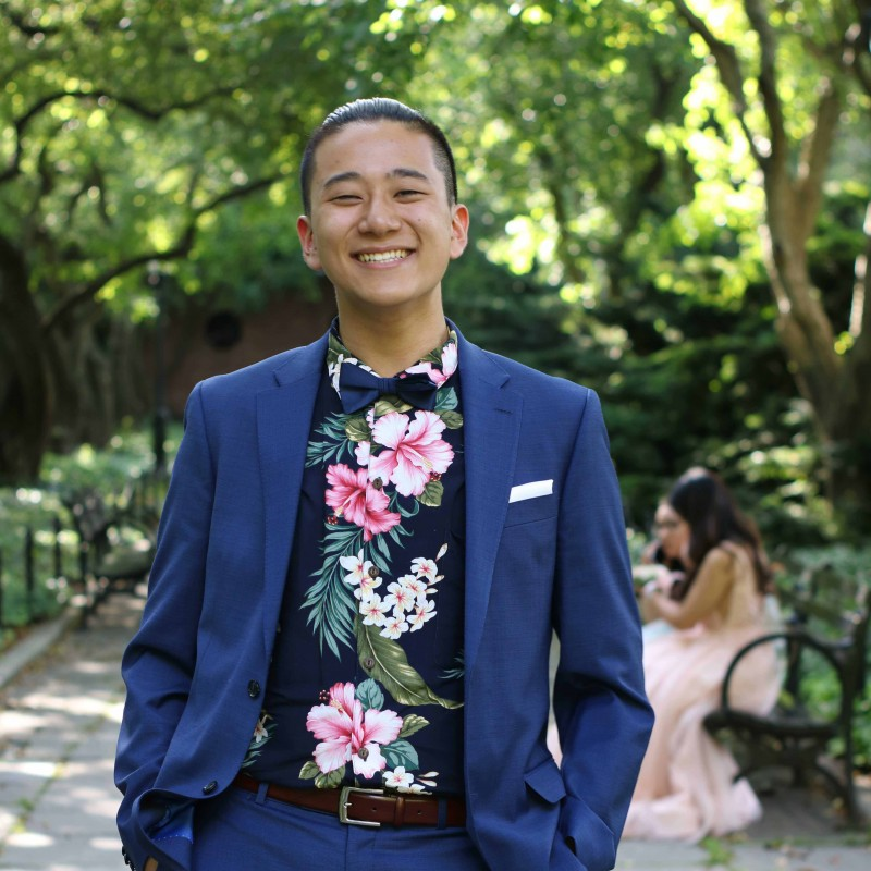 Binghamton University Art Museum intern Albert Zhang, a sophomore psychology major