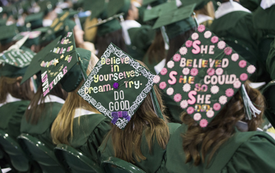 Mortarboard messages at Commencement