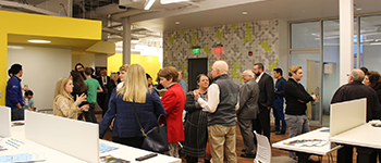 Attendees speak at Silos Event