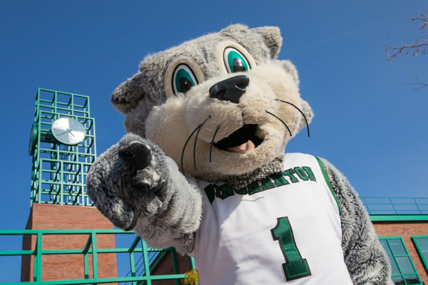 Baxter in front of clock tower