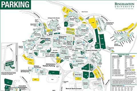 Binghamton University Map Visitors Parking To Lecture Hall Map ...