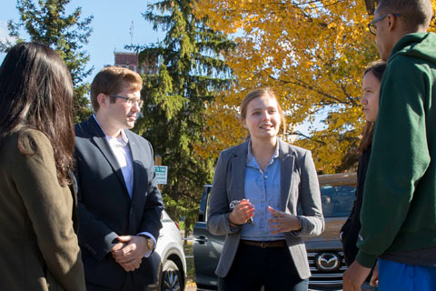Mazda empoyees came to campus to judge case statements.